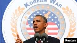 바락 오바마 미국 대통령이 지난 2013년 7월 미국 워싱턴에서 열린 한국전쟁 정전협정 60주년 기념식에서 연설하고 있다. (자료사진)