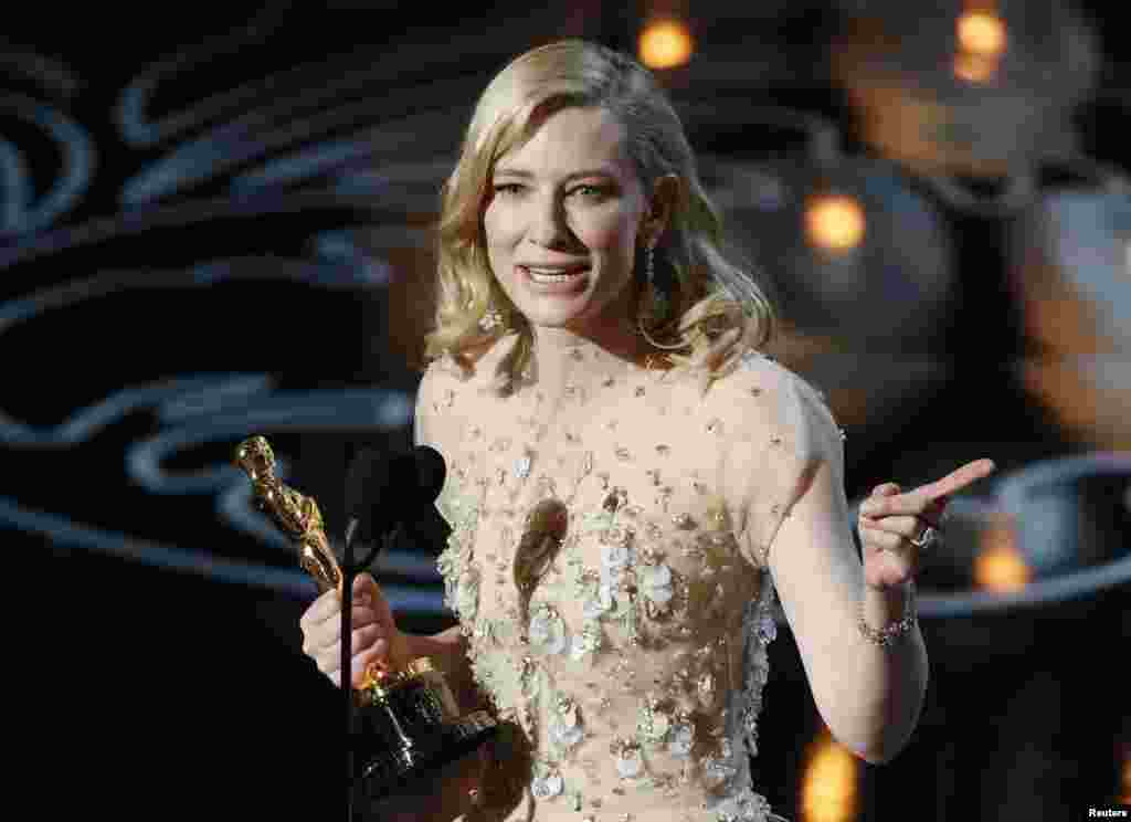 "Cate Blanchett speaks on stage after she won best actress for her work in 'Blue Jasmine"" at the 86th Academy Awards in Hollywood, CA, March 2, 2014."