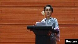 Khôi nguyên Giải Nobel Hoà Bình phát biểu hôm 12/1 trong ngày khai mạc cuộc thương thuyết tại thủ đô Naypyitaw.