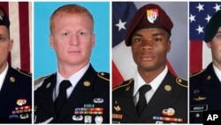 These images provided by the U.S. Army show, from left, Staff Sgt. Bryan C. Black, 35, of Puyallup, Wash.; Staff Sgt. Jeremiah W. Johnson, 39, of Springboro, Ohio; Sgt. La David Johnson of Miami Gardens, Fla.; and Staff Sgt. Dustin M. Wright, 29, of Lyons, Ga.