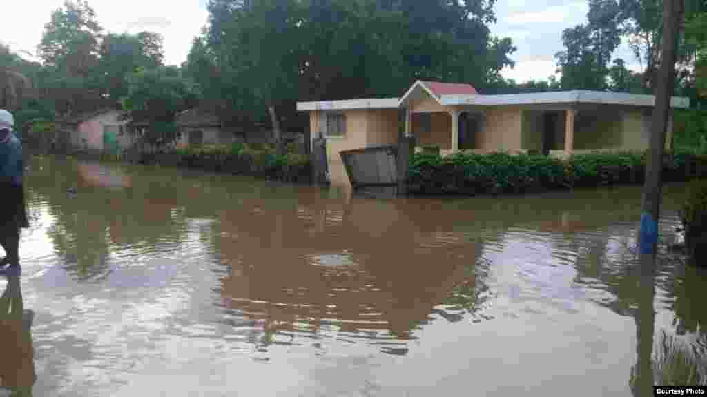 A flooded neighborhood is seen in Ouanaminthe, northeast Haiti, Sept. 8, 2017. (Photo - Josiah Cherenfant, courtesy VOA Creole Service)