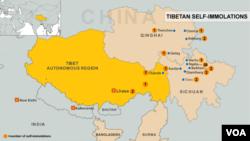 Bản đồ cho thấy các địa điểm đã xảy ra các vụ tự thiêu phản đối Trung Quốc