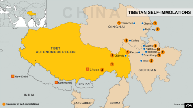 Locations of self-immolations in Tibet