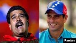 Nicolás Maduro (kiri) dan Henrique Capriles, kandidat presiden Venezuela dalam pemilihan presiden pengganti mendiang Hugo Chaves, Minggu (14/4).