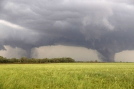 Two tornados approach Pilger, Nebraska., June 16, 2014.