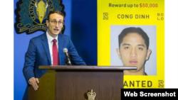 Giám đốc BOLO Maxime Langlois bên cạnh hình của Cong Dinh, tại cuộc họp báo hôm 3/12/2019. Photo Vancouver Sun.