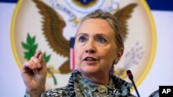 Госсекретарь США Хиллари Клинтон.