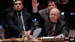 Le représentant permanent russe à l'ONU, Vasily Nebenzya, devant le Conseil de sécurité, New York, 10 avril 2018
