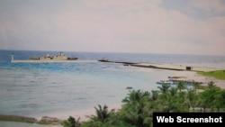 台灣太平島碼頭模擬圖像(翻拍中時電子報)