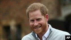 Le prince Harry s'exprime au château de Windsor en Angleterre le 6 mai 2019.