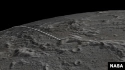 This still image and animation shows the final flight path for NASA's twin Gravity Recovery and Interior Laboratory (GRAIL) mission spacecraft, which will impact the moon on Dec. 17, 2012.