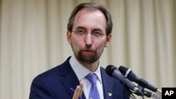FILE - U.N. High Commissioner for Human Rights Zeid Ra'ad al-Hussein says both sides are at fault in the recent surge in Israeli-Palestinian violence.