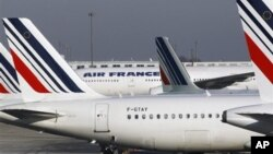 Air France planes are parked on the tarmac at Paris Charles de Gaulle airport, in Roissy, near Paris. (Feb 2012 photo)