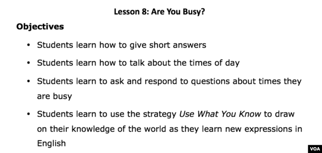 Lesson 8 Are You Busy – Lesson Plan Objectives