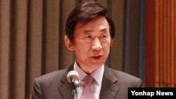 미국을 방문 중인 윤병세 외교부 장관이 5일 뉴욕에서 개최된 '문화와 지속가능개발 유엔 고위급회의'에서 기조연설을 하고 있다.