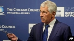 Secretary of Defense Chuck Hagel speaks about strategic priorities to the Chicago Council on Global Affairs, May 6, 2014.