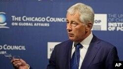 美國國防部長哈格爾5月6日在芝加哥外交事務論壇上發表講話