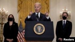拜登總統在白宮談論在阿富汗局勢和撤離人員的努力。(2021年8月20日)