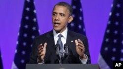 El presidente Obama mientras se dirige a a los ejecutivos de The Associated Press.