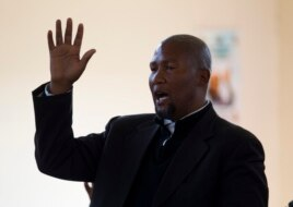 Mandla Mandela, grandson of former South African President Nelson Mandela, sings during a church service near the home of the former president in Qunu, June 30, 2013.