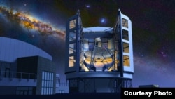 Artist drawing of the Giant Magellan Telescope under a starry night sky (Giant Magellan Telescope)