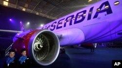 Erbas A319-100 Er Srbije parkiran je u hangaru za vreme inauguracione ceremonije