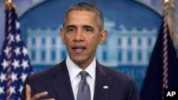 오바마 대통령이 지난달 백악관 브리핑룸에서 회견하고 있다. (자료사진)
