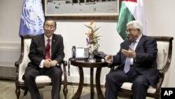 Generalni sekretar UN-a Ban ki-Mun i palestinski predsednik Mahmud Abas tokom nedavnog susreta u Ramali, na Zapadnoj Obali