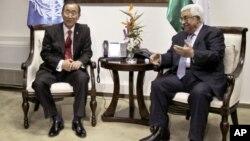 El presidente de la Autoridad Palestina Mahmoud Abbas conversa con el secretario general de la ONU, Ban Ki-moon. La ONU votará mañana el reconocimiento de Palestina.