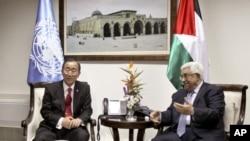 BM Genel Sekreteri Ban Ki-moon ve Filistin Yönetimi Başkanı Mahmut Abbas oylama öncesi görüşürken