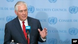 Ngoại trưởng Mỹ Tillerson phát biểu trước báo giới sau cuộc họp Hội đồng Bảo an cao cấp về tình hình ở Triều Tiên, ngày 15 tháng 12, 2017.