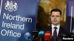 FILE - Northern Ireland Secretary of State James Brokenshire at Stormont House Belfast, Northern Ireland, Jan. 16, 2017.