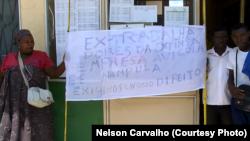 Manifestação de traballhadores de antiga Avícola de Nampula