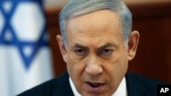 Perdana Menteri Israel Benjamin Netanyahu menghadiri rapat kabinet di Yerusalem (26/5).