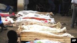 Miili ya waathirika katika shambulizi la kwenye baa Jumapili usiku huko Gatumba nchini Burundi. Septemba 19, 2011