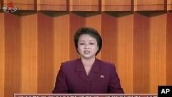 지난해 12월30일 김정일 위원장 조문과 관련해, 북한 국방위원회의 한국 정부 비난 성명을 발표하는 조선중앙TV 아나운서