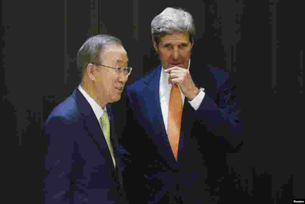 U.S. Secretary of State John Kerry meets with U.N. Secretary-General Ban Ki-moon in Jerusalem, July 23, 2014.