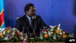 Le président de la République démocratique du Congo, Joseph Kabila, tient une conférence de presse à Kinshasa, le 26 janvier 2018