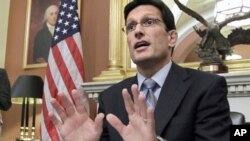 House Majority Leader Eric Cantor of Va. answers questions from reporters on President Obama's jobs bill, the debt reduction supercommittee and the economy, Monday, Oct. 3, 2011, on Capitol Hill in Washington.
