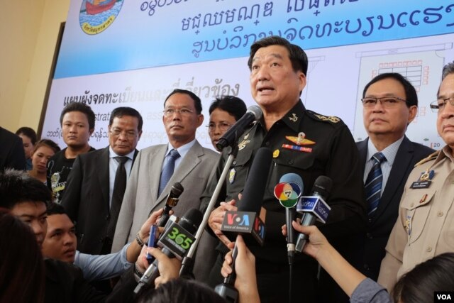 Thai Army Chief of Staff, Geneneral Sirichai Distakul, speaks at the opening of a one-stop center for foreign laborers in Samut Sakhon, Thailand, June 30, 2014. (Steve Herman/VOA)