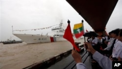တရုတ္ကင္းလွည့္ သေဘၤာ MV Haixun 01 ျမန္မာႏုိင္ငံကို ဆိပ္ေရာက္လာစဥ္။ (ဇူလိုင္၂၄၊ ၂၀၁၃)