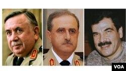 시리아의 하산 투르크마니 대통령 안보보좌관(왼쪽), 다우드 라자 국방장관(가운데), 알-아사드 대통령의 매형인 아세프 샤우캇 국방차관(오른쪽).
