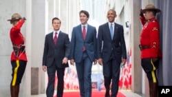 Барак Обама, Джастин Трюдо и Энрике Пенья Ньето. Оттава, Канада, 29 июня, 2016.