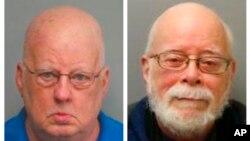 Esta combinación de fotos de 2019 y 2017, muestra a James Alan Funke, a la izquierda, y a Jerome Bernard Robben. Tres décadas antes, Funke, un sacerdote católico, y Robben, un compañero de clase en una escuela secundaria católica de San Luis, fueron a prisión por abuso.