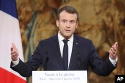 FILE - French President Emmanuel Macron.