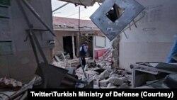 Rumah sakit di Kota Afrin luluh-lantak akibat serangan oleh kombatan yang didukung Turki, Sabtu, 12 Juni 2021. (Foto: akun Twitter Kementerian Pertahanan Turki)
