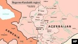 Bản đồ khu vực bị tranh chấp Nagorno-Karabakh