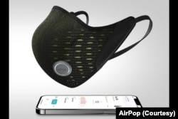 AirPop Active+ mask has a built-in sensor to record breathing info, temperature and humidity.