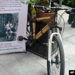以竹子做框架的环保自行车