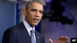 Presiden AS Barack Obama memberikan pernyataan mengenai keputusan dewan juri di Ferguson minggu lalu (24/11).